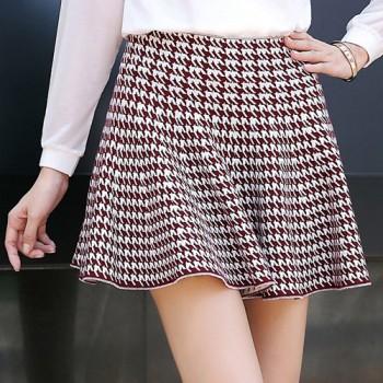 Stylish Mid-Waisted Plaid Zippered Skirt For Women white black claret