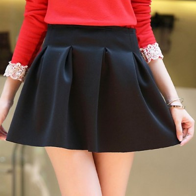 Stylish Mid-Waisted Zippered Solid Color Ruffled Skirt For Women black red green