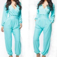 Stylish Plunging Neck Long Sleeve Solid Color Jumpsuit For Women Blue