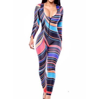 Stylish Plunging Neck Long Sleeve Zippered Slimming Color Block Jumpsuit For Women