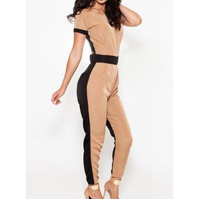 Stylish Scoop Neck Color Block Backless Short Sleeve Jumpsuit For Women khaki
