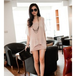 Stylish Scoop Neck Off-The-Shoulder Chiffon Splicing Faux Twinset Dress For Women