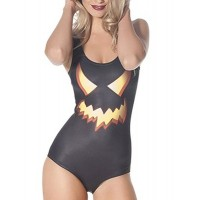 Stylish Scoop Neck Printed Slimming One-Piece Swimwear For Women