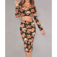 Stylish U-Neck Long Sleeve Printed Crop Top + High-Waisted Bodycon Skirt Twinset For Women black white