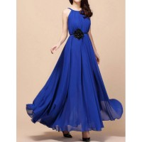 Stylish Women's Jewel Neck Solid Color Chiffon Dress blue