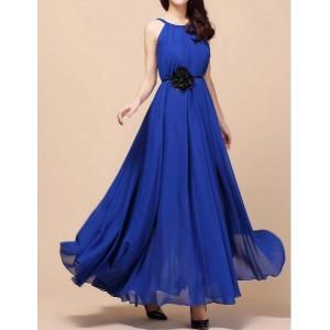 Stylish Women's Jewel Neck Solid Color Chiffon Dress blue