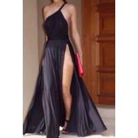 Stylish Women's One-Shoulder Backless Side Slit Dress black white
