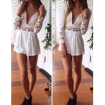 Stylish Women's Plunging Neckline Lace Embellished Long Sleeve Jumpsuit white
