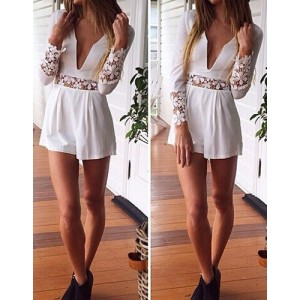 Stylish Women's Plunging Neckline Lace Embellished Long Sleeve Jumpsuit white