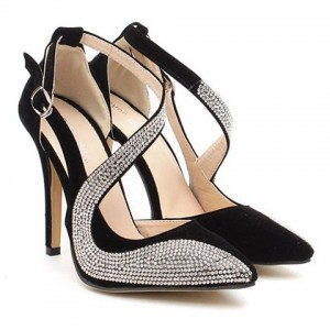 Stylish Women's Pumps With Rhinestones and Openwork Design black apricot