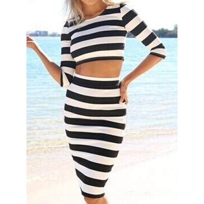 Stylish Women's Round Neck Striped Crop Top and Skirt Suit black white