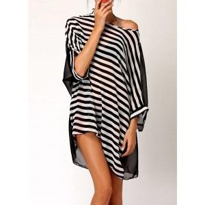 Stylish Women's Scoop Neck Striped Bikini Cover