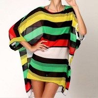 Stylish Women's Scoop Neck Striped Color Block Bikini Cover colorful