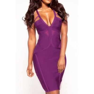 Stylish Women's Spaghetti Strap Backless Solid Color Bandage Dress Purple