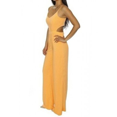 Stylish Women's Spaghetti Strap Hollow Out Solid Color Jumpsuit yellow