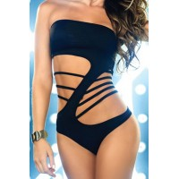 Stylish Women's Strapless Black One-Piece Hollow Out Swimsuit black