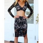 Stylish Women's V-Neck Lace Crop Top and Skirt Suit black