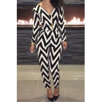 Stylish Women's V-Neck Long Sleeve Backless Striped Jumpsuit black white