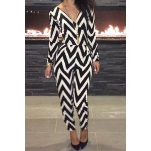 Stylish Women's V-Neck Long Sleeve Backless Striped Jumpsuit black white