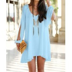 Stylish Women's V-Neck Long Sleeve Hollow Out Chiffon Dress