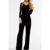 Stylish Women's V-Neck Long Sleeve Lace Splicing Backless Jumpsuit black