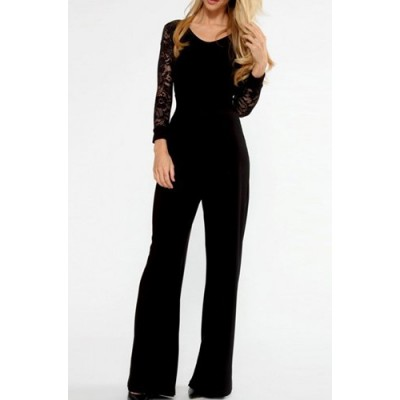 Stylish Women's V-Neck Long Sleeve Lace Splicing Backless Jumpsuit black