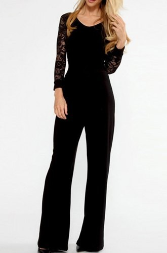 Stylish Women s V-Neck Long Sleeve Lace Splicing Backless Jumpsuit black 907c5d7ad