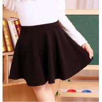 Sweet Elastic High Waist Ruffles Solid Color Skirt For Women Black Red Blue