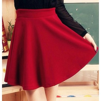 Sweet Elastic High Waist Ruffles Solid Color Skirt For Women Black Red Blue