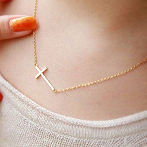 Sweet simple design cross pendant necklace for women golden sweet sweet simple design cross pendant necklace for women golden aloadofball Images