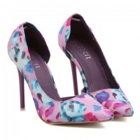 Sweet Women's Pumps With Pointed Toe and Floral Print Design purple pink green