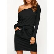Tie-Waist Slimming Pocket Design Dress