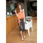 Trendy Color Block Polka Dot Print Splice Slimming Summer Jumpsuit For Women Jacinth White