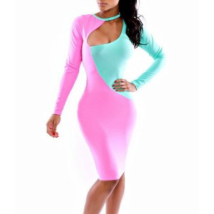 Trendy Long Sleeve Round Collar Color Block Knee-Length Dress For Women blue pink
