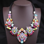 Unique Colorful Gemstone Flower Pendants Women's Fashion Rope Necklace Colorful Black