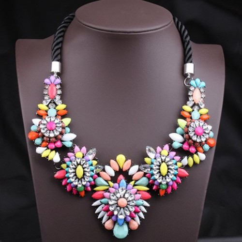 Unique colorful gemstone flower pendants women s fashion rope unique colorful gemstone flower pendants womens fashion rope necklace colorful black aloadofball Images