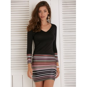 V-Neck Long Sleeve Colorful Striped Women's Dress