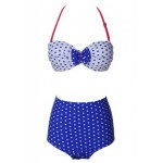 Vintage Halter Neck Polka Dot Bowknot Embellished Bikini Set For Women