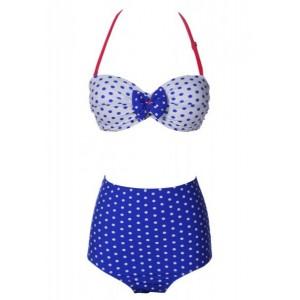 Vintage Halter Neck Polka Dot Bowknot Embellished Bikini Set For Women