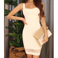 Voile Splicing Packet Buttock Fashionable Square Neck Sleeveless Women's Bodycon Dress white deep blue