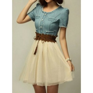 Women's Scoop Neck Short Sleeve Blue Denim Splicing Chiffon Dress