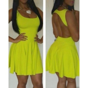Women's U Neck Backless Pleated Yellow Plum Club Dress