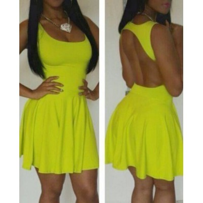 Women's U Neck Backless Pleated Yellow Plum Club Dress