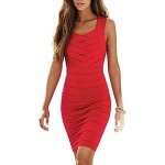 Women's V-neck Red Sexy Cocktail Bodycon Bandage Party Wedding Dress