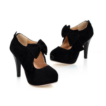 Work Women's Spring Pumps With Suede Solid Color and Bows Design black camel