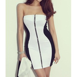 Wrapped Chest Sexy Color Block Zipper Splicing Packet Buttock Dress For Women