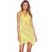 Yellow Eyelash Lace V Neck Hollow Mesh Spliced Wrap Dress