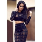 2pcs Black Sheer Mesh Grid Bandage Dress nude