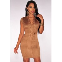 Faux Suede Crisscross Neck Mini Dress blue Mocha