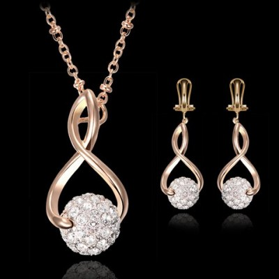 A Suit of Chic Rhinestoned Ball Shape Hollow Out Eight Necklace and Earrings For Women